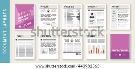 Document Report Layout Templates Mockup Set Vector - stock vector