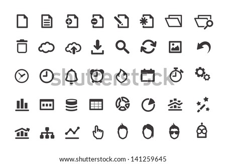 Document Simple Icons Set - stock vector