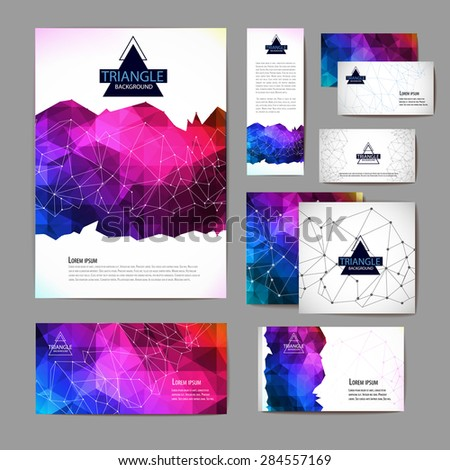Document template with triangle geometric abstract background - stock vector