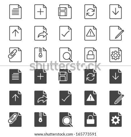 Document thin icons, included normal and enable state. - stock vector