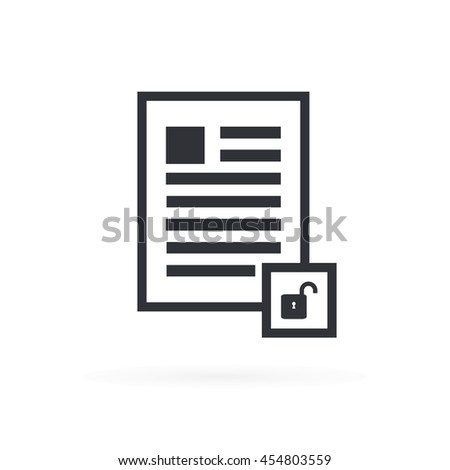 Document Unsecured Icon - stock vector