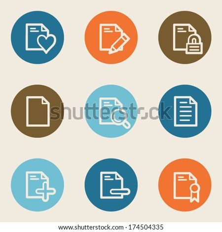 Document web icon set 2, color circle buttons - stock vector