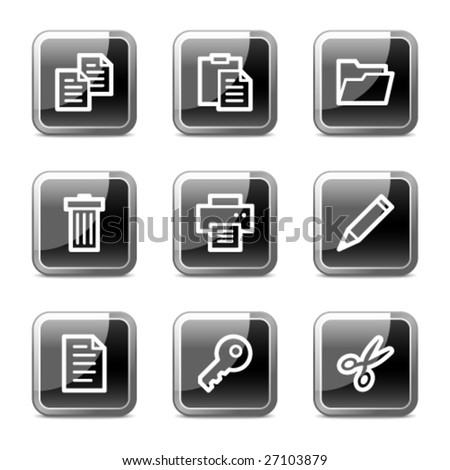 Document web icons, black square glossy buttons series