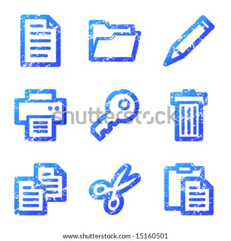 Document web icons, blue grunge series