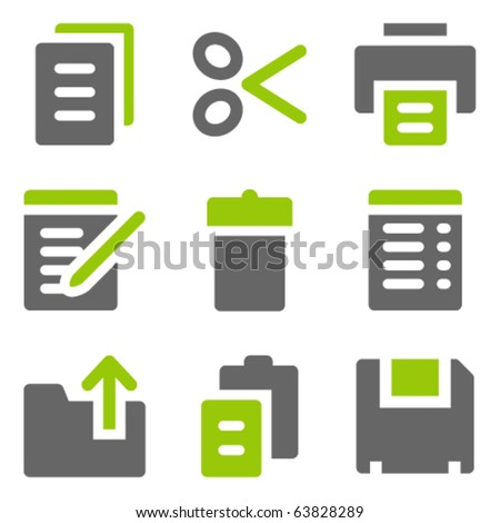 Document web icons, green grey solid icons - stock vector