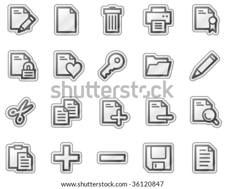 Document web icons, grey sticker series - stock vector
