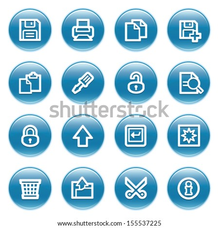 Document web icons on blue buttons.