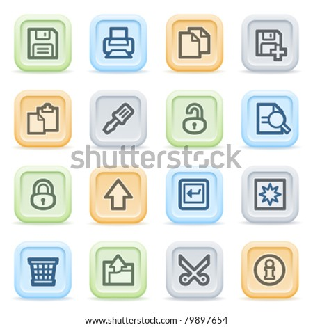 Document web icons on color buttons, set 1 - stock vector