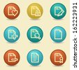 Document web icons, retro buttons - stock vector