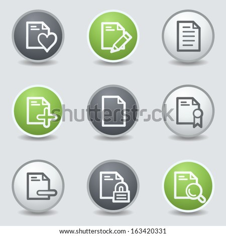 Document web icons set 2, circle buttons - stock vector