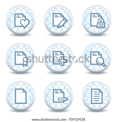 Document web icons set 2, glossy circle buttons - stock vector