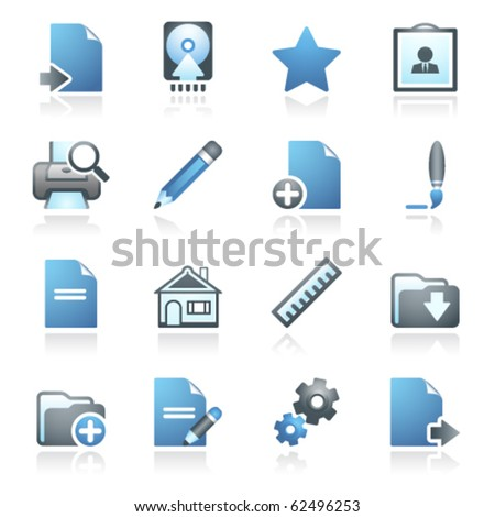Document web icons, set 2. Gray and blue series. - stock vector