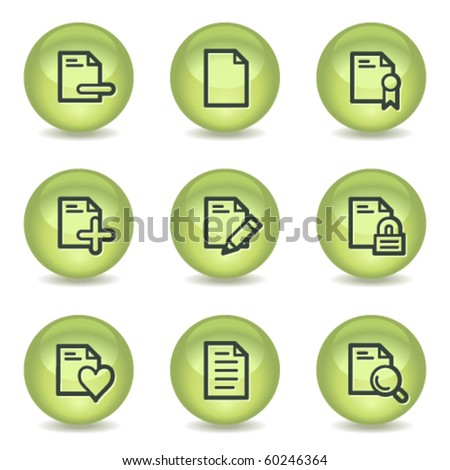 Document web icons set 2, green glossy circle buttons - stock vector