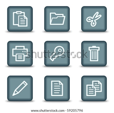 Document web icons set 1, grey square buttons