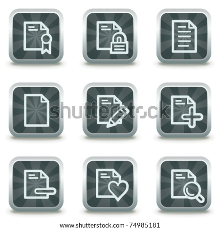 Document web icons set 2, grey square buttons - stock vector