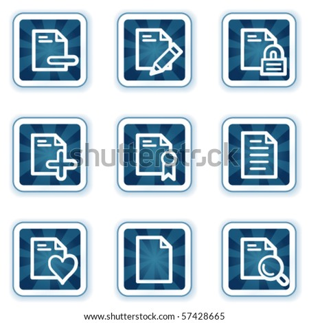 Document web icons set 2, navy square buttons - stock vector