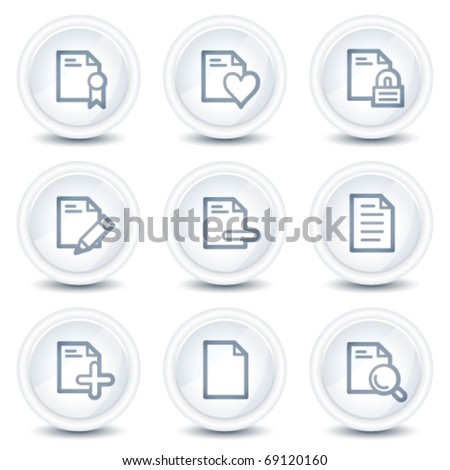 Document web icons set 2, white glossy circle buttons - stock vector