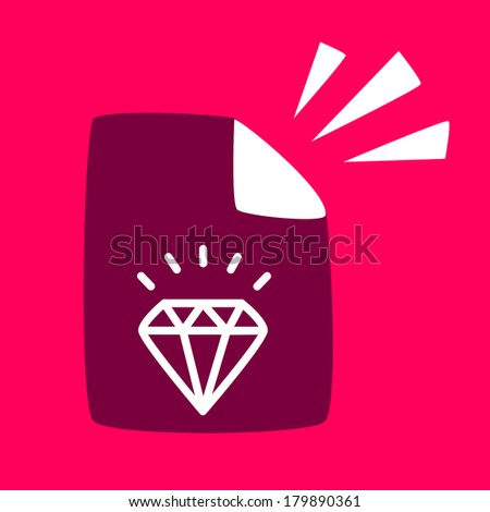 document with a diamond. written about the benefits of diamond. - stock vector