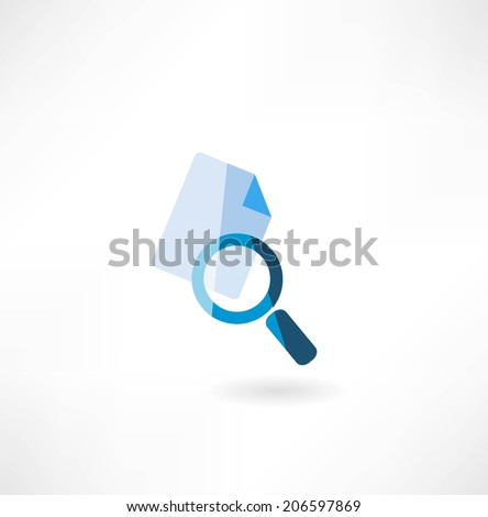 document with a magnifying glass icon - stock vector