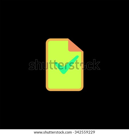 Document with check mark. Color vector icon on black background - stock vector