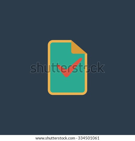 Document with check mark. Colorful vector icon. Simple retro color modern illustration pictogram. Collection concept symbol for infographic project and logo - stock vector