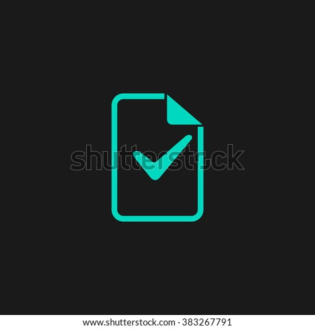 Document with check mark. Flat simple modern illustration pictogram. Collection concept symbol for infographic project and logo - stock vector