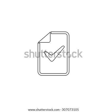 Document with check mark. Outline black simple vector pictogram - stock vector