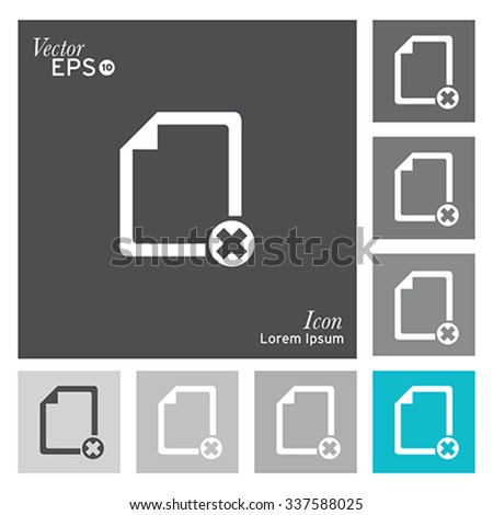 Document with error icon - vector, illustration. - stock vector