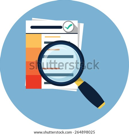 Document with Magnifying Glass - stock vector