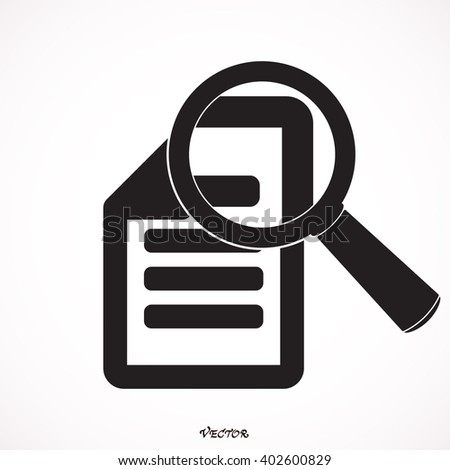 Document With Magnifying Glass Icon Isolated on White Background - stock vector