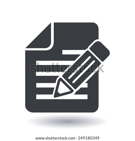 Document with pen icon. - stock vector