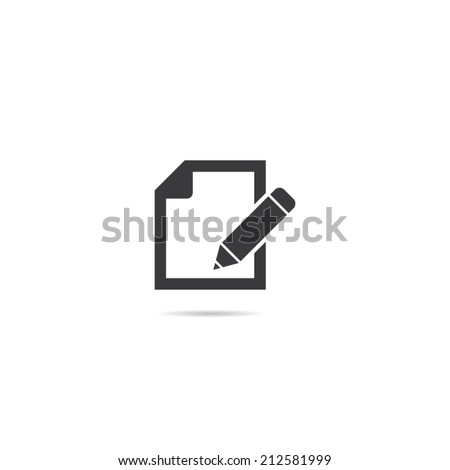 Document With Pencil Icon - stock vector