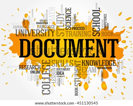 DOCUMENT word cloud collage, education concept background - stock vector