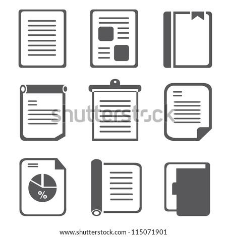 documents, document set - stock vector
