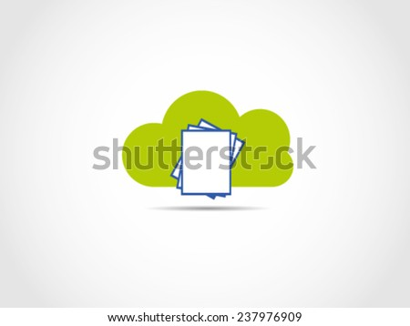 Documents Files Storage Cloud Server - stock vector