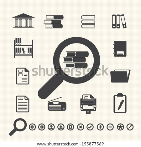 Documents Icons and Library icon. Vector - stock vector