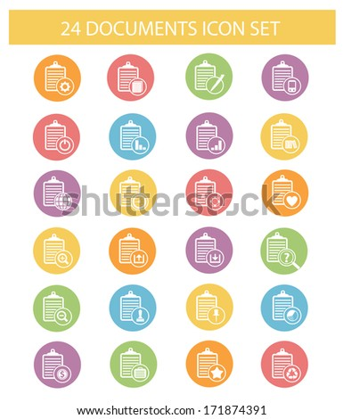 Documents icons,Colorful version,vector - stock vector