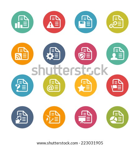 Documents Icons - 2 // Fresh Colors Series ++ Icons and buttons in different layers, easy to change colors ++ - stock vector