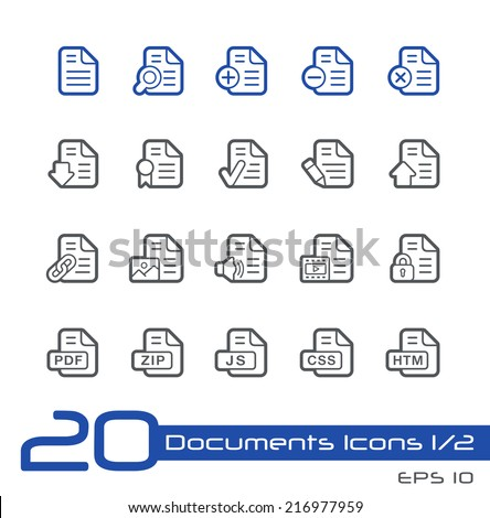 Documents Icons - 1 of 2 // Line Series - stock vector