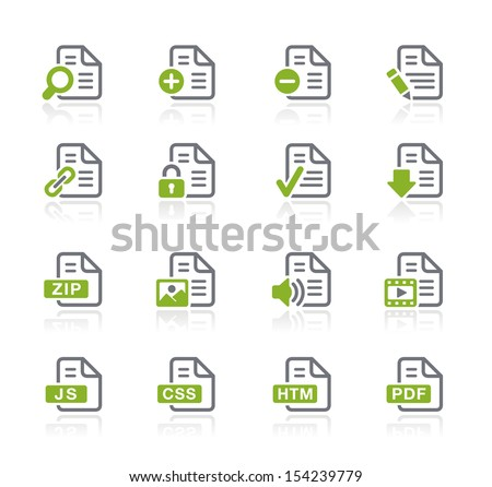 Documents Icons - 1 of 2 // Natura Series - stock vector