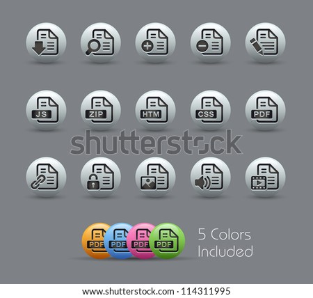 Documents Icons - 1 of 2 // Pearly Series -------It includes 5 color versions for each icon in different layers --------- - stock vector