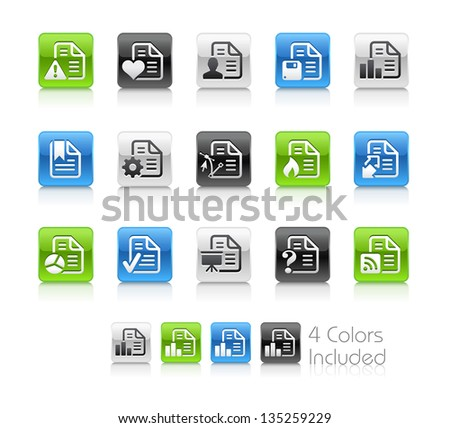 Documents Icons - 2 / The file Includes 4 color versions in different layers. - stock vector