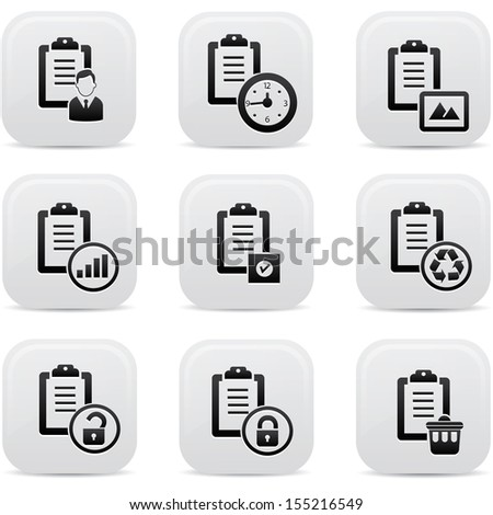Documents icons,White buttons,vector - stock vector