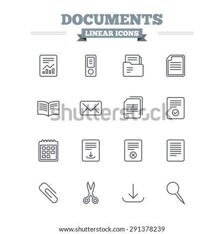 Documents linear icons set. Accounting, book and calendar symbols. Paper clip, scissors and download arrow thin outline signs. Mail envelope and file chart. Flat vector - stock vector