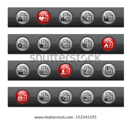 Documents - Set 2 of 2 // Button Bar Series  - stock vector