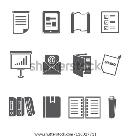 documents set, office icon set - stock vector