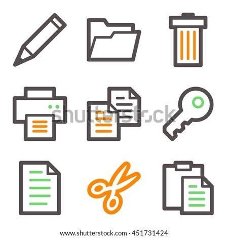 Documents Web Icons Set Office Crm Stock Vector 2018 451731424