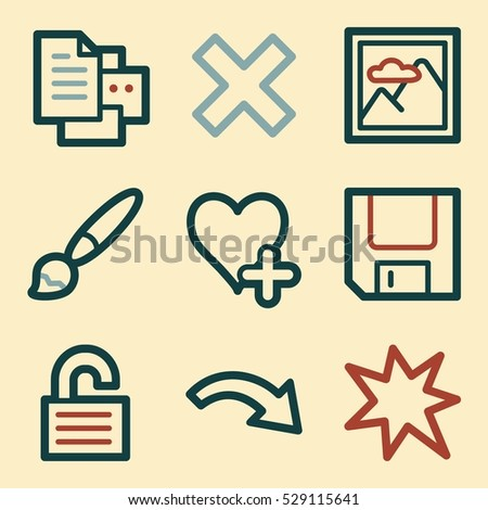 Documents web icons set. Office and CRM mobile symbols.