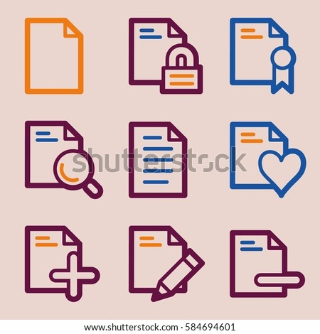 Documents Web Icons Set Office Crm Stock Vector 584694601 Shutterstock