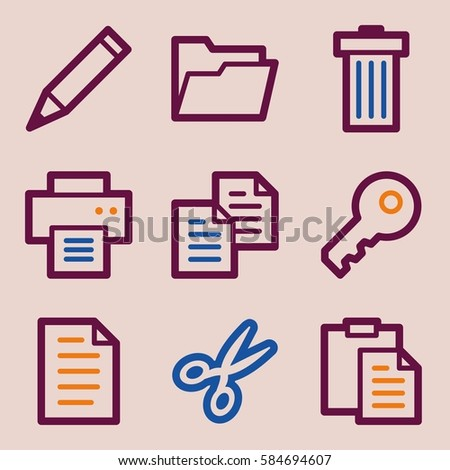 Documents Web Icons Set Office Crm Stock Vector 584694607 Shutterstock